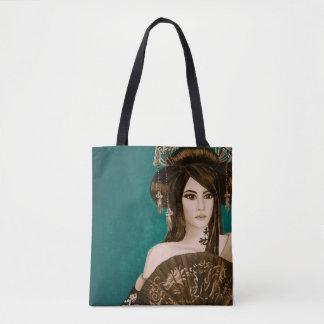 Tote Bag: Teal Geisha