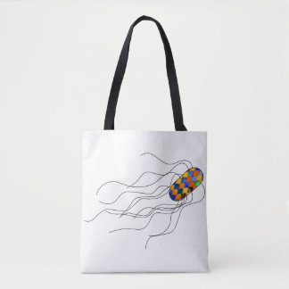 Tote bag with a stained glass microbe
