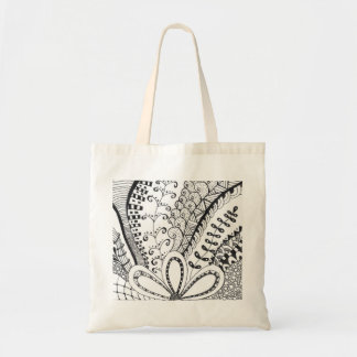 Tote bag with drawing in doodle art