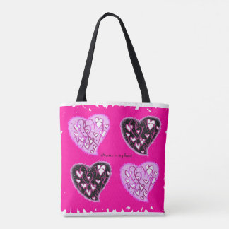 Tote bag with hearts