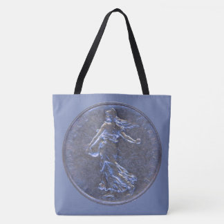 Tote Bag with Images of a French 5 Franc Coin 1962