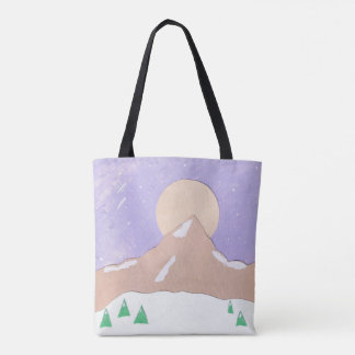 Tote Bag with Mountain Scene
