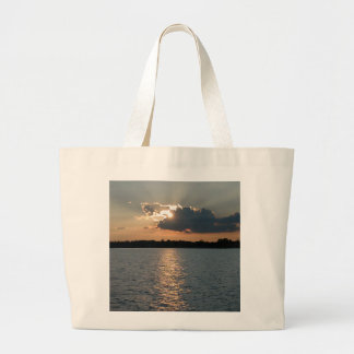 Tote bag with photo of silver-lining sunset