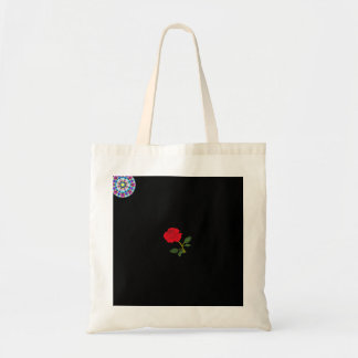 tote bag with red rose bloom