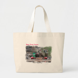 Tote bag with squirrels playing beer pong game