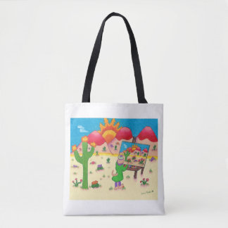 Tote bag with whimsical cat