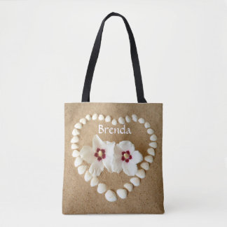 Tote Bag with White Shells and Flowers Customize