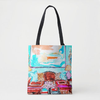 Tote Bag wth living room vignette