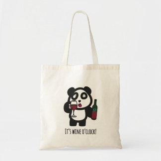 Tote - Drinking Panda - It's wine o'clock!