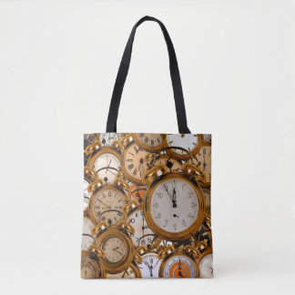 Tote Grocery Shopping Bag Gold Time Clocks Watches