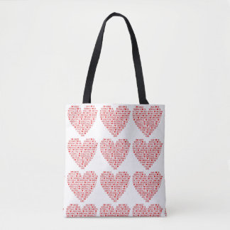 Tote I Love Christmas Red Heart Shopping Bag