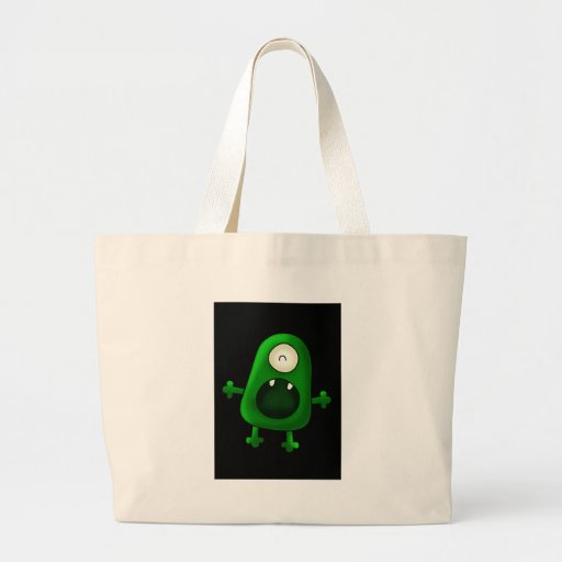 Tote one eyed green monster tote bags