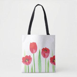 Tote stock market tulipas   Watercolor tulips bag