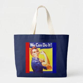 "Tote ""We Can Do It!"" Slogan Rosie the Riveter Jumbo Tote Bag"