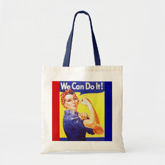 """Tote """"We Can Do It!"""" Slogan Rosie the Riveter Budget Tote Bag"""