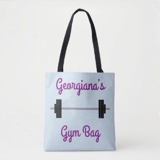 "Tote With Barbell + Personalized Name + ""Gym Bag"""