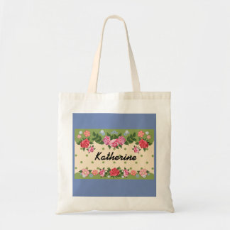 Tote with flower background/monogram