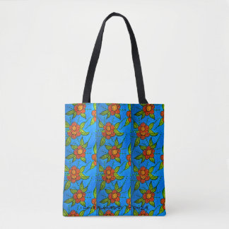 Tote with hand-painted red flowers