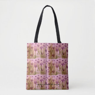 Tote with handpainted watercolor of purple flowers