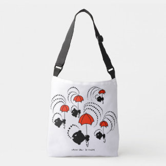Tote with little black fishes and red umbrellas!