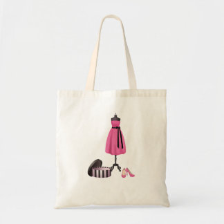 Tote with Painting of a pink dress, box and pink h