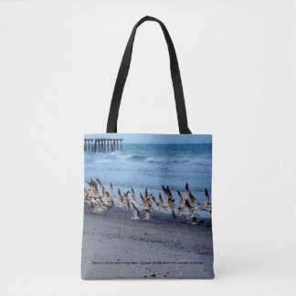 Tote with picture of birds, black skimmers