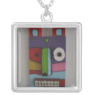 totem dog square pendant necklace