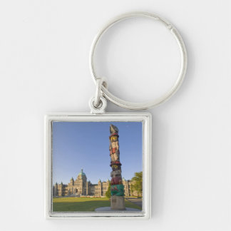 Totem pole at the Parliament building in Silver-Colored Square Key Ring