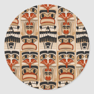 Totem Pole Classic Round Sticker