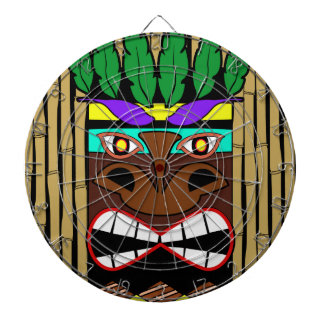 Totem With Bamboo Luau Party Dartboard With Darts