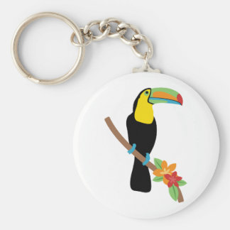 Toucan Bird Basic Round Button Key Ring