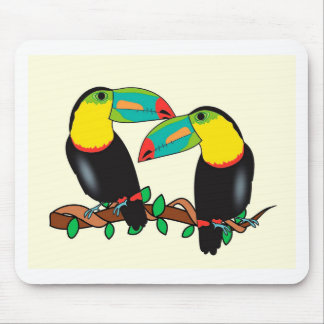 Toucan bird love art mouse pad