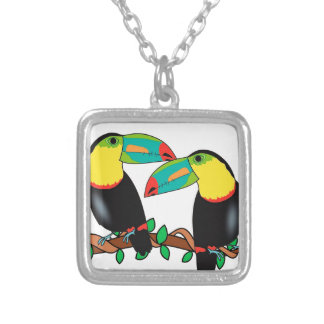Toucan bird love art silver plated necklace