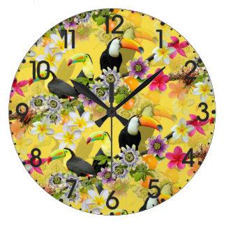 Toucan Birds, Passion Flowers, Plumeria Tropical Large Clock