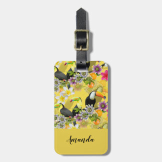 Toucan Birds, Passion Flowers, Plumeria Tropical Luggage Tag