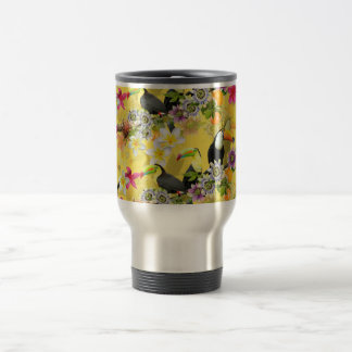 Toucan Birds, Passion Flowers, Plumeria Tropical Travel Mug