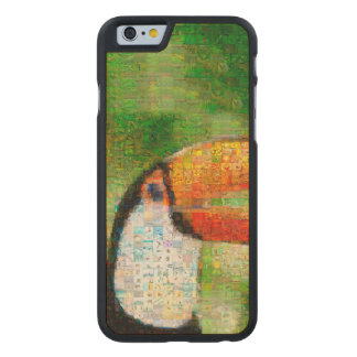 Toucan collage-toucan  art - collage art carved maple iPhone 6 case