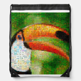 Toucan collage-toucan  art - collage art drawstring bag