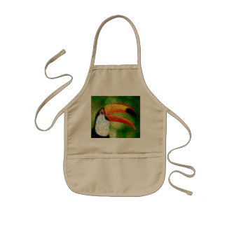 Toucan collage-toucan  art - collage art kids apron