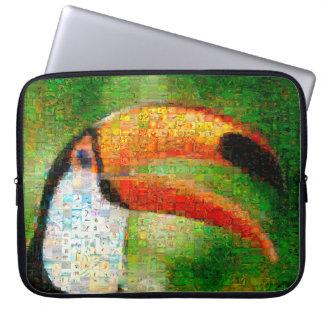 Toucan collage-toucan  art - collage art laptop sleeve