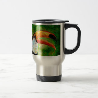 Toucan collage-toucan  art - collage art travel mug