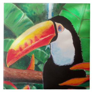 Toucan Exotic Wildlife Bird Portrait Tile Artwork