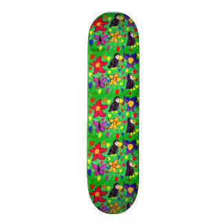 Toucan flower butterfly 21.6 cm old school skateboard deck