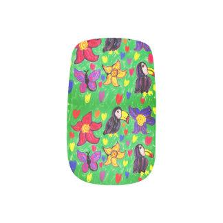 Toucan flower butterfly minx nail art