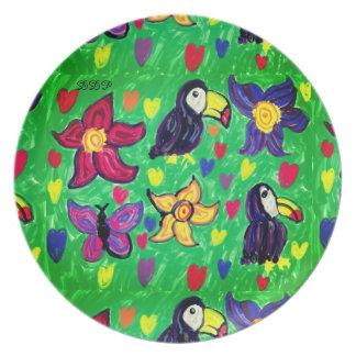 Toucan flower butterfly plate