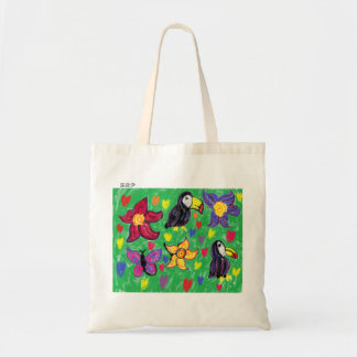 Toucan flower butterfly tote bag