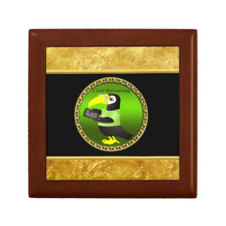 Toucan parrots with computer and gold foil design gift box