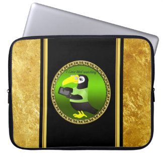 Toucan parrots with computer and gold foil design laptop sleeve