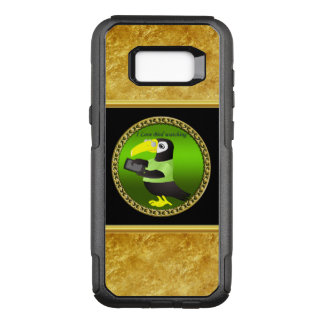 Toucan parrots with computer and gold foil design OtterBox commuter samsung galaxy s8+ case