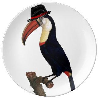 Toucan Stylish Trilby Hat Porcelain Plates